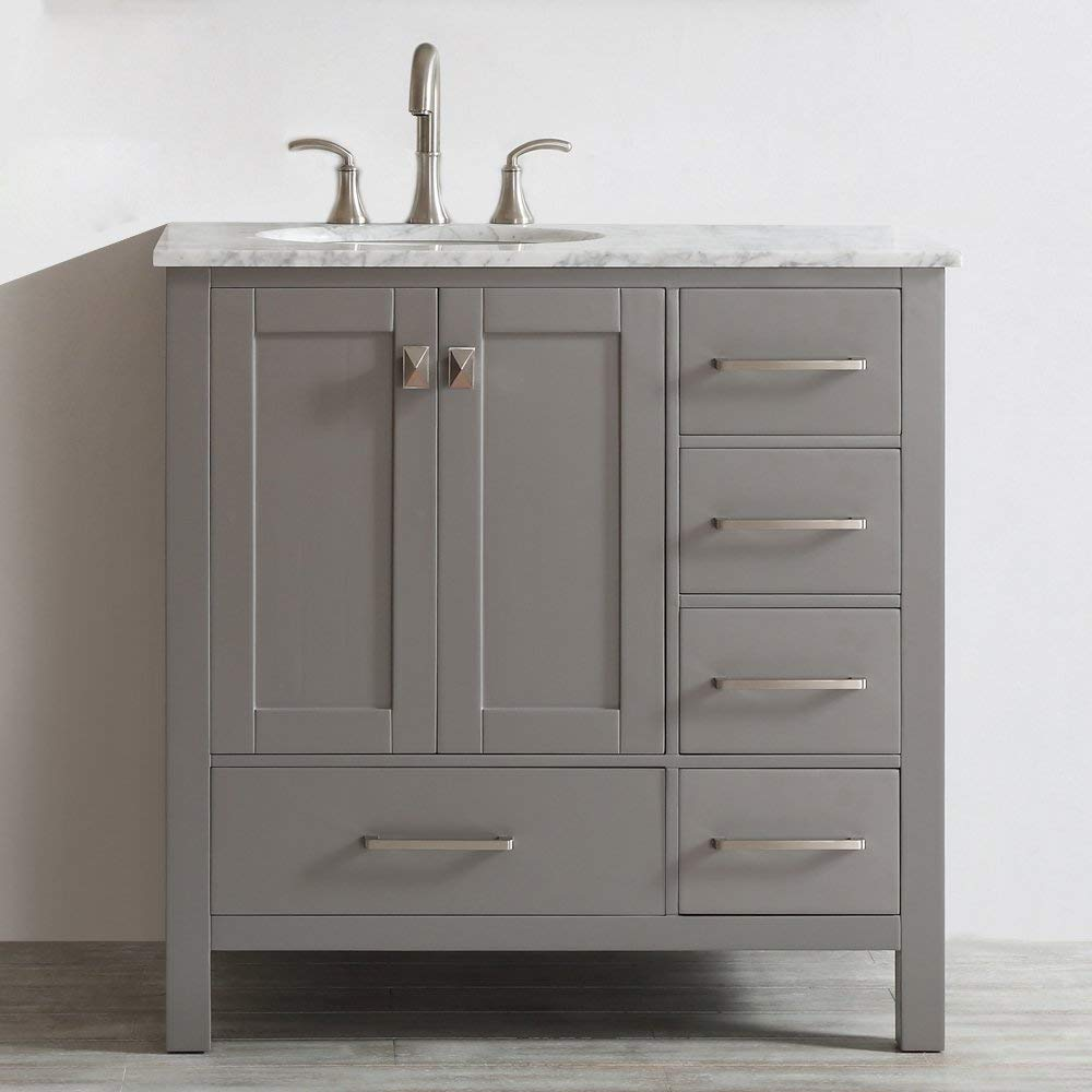 Vinnova 723036-GR-CA-NM Gela 36 inch single Vanity In Grey with Carrera White Marble Top Without Mirror