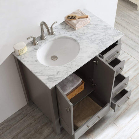 Image of Vinnova 723036-GR-CA-NM Gela 36 inch single Vanity In Grey with Carrera White Marble Top Without Mirror