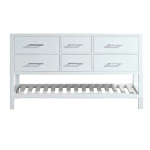 "London 61"" Double Sink Base Cabinet in White with Open Bottom"