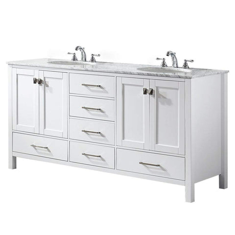 Image of Vinnova 723072-WH-CA-NM Gela 72 inch Double Vanity In White with Carrera White Marble Top Without Mirror