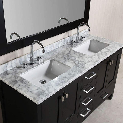 "Image of London 60"" Double Sink Vanity Set in Espresso Finish"