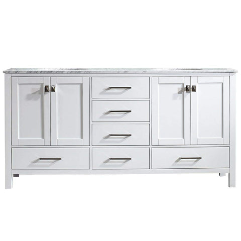 Vinnova 723072-WH-CA-NM Gela 72 inch Double Vanity In White with Carrera White Marble Top Without Mirror