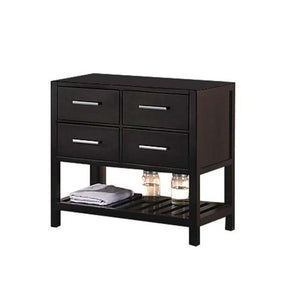 "London 36"" Single Sink Base Cabinet in Espresso with Open Bottom"
