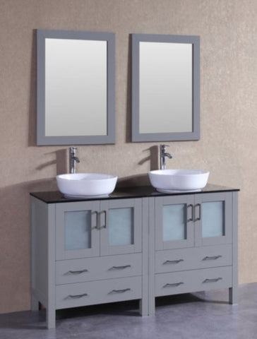 "Image of 60"" Bosconi AGR230BWLBG Double Vanity"