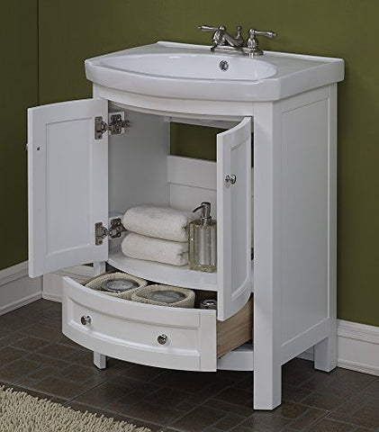 Image of RunFine RFVA0069W Virteous Vanity Top One Drawer & Cabinet with Slow Close Doors, White Finish