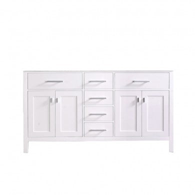 "London 61"" Double Sink Base Cabinet in White"