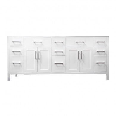 "London 78"" Double Sink Base Cabinet in White"
