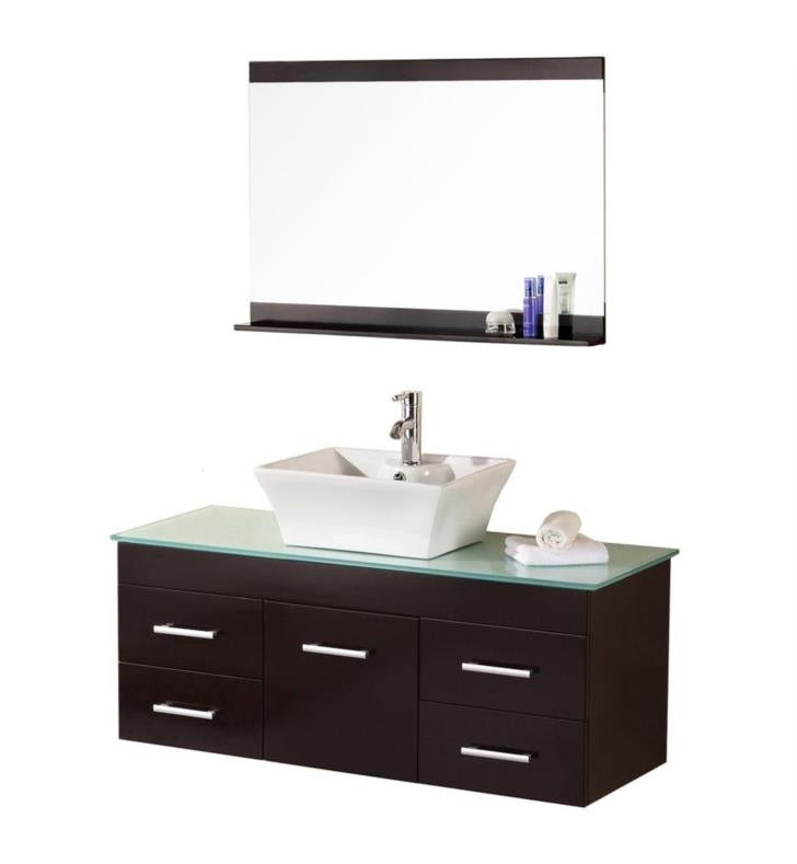 "Madrid 48"" Single Sink - Wall Mount Vanity Set in Espresso"