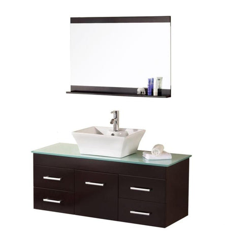 "Image of Madrid 48"" Single Sink - Wall Mount Vanity Set in Espresso"