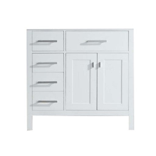 "London 36"" Single Sink Base Cabinet in White with Drawers on the Left"