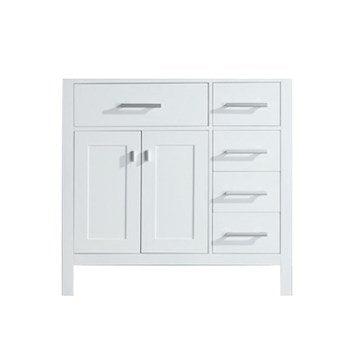 "London 36"" Single Sink Base Cabinet in White with Open Bottom"