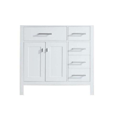 "London 36"" Single Sink Base Cabinet in White with Drawers on the Right"