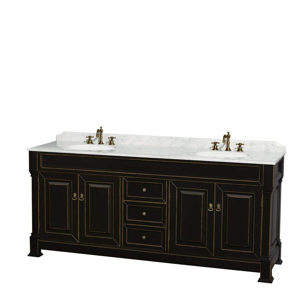 Wyndham Collection Andover 80 inch Double Bathroom Vanity in Antique Black with White Carrera Marble Top with Undermount Round Sinks and 28 inch Mirrors