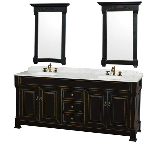 Image of Wyndham Collection Andover 80 inch Double Bathroom Vanity in Antique Black with White Carrera Marble Top with Undermount Round Sinks and 28 inch Mirrors