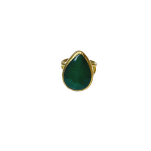AVENTURINE FACETED TEARDROP RING