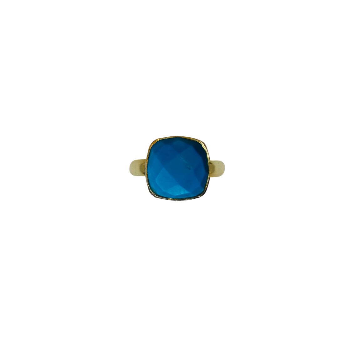 TURQUOISE FACETED MIDI RING