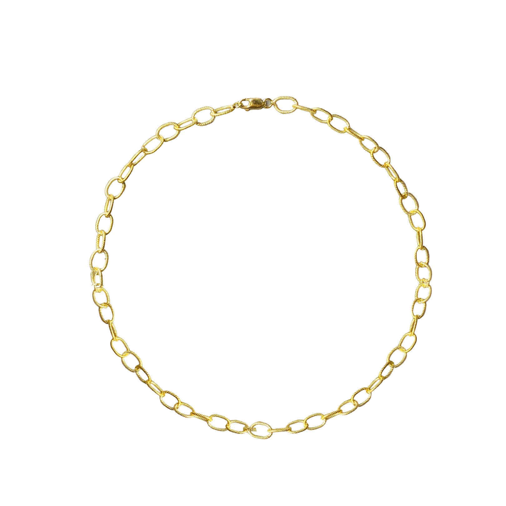 OVAL TEXTURED BOX LINK CHAIN