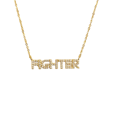 FIGHTER PAVE NAMEPLATE NECKLACE