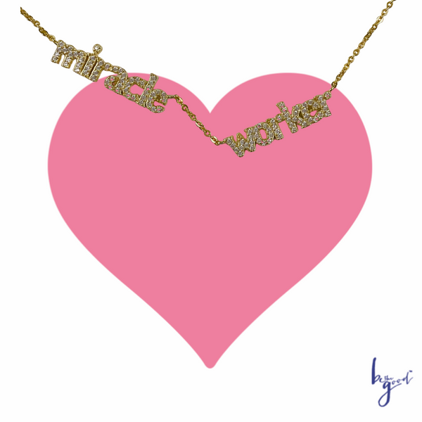 Miracle Worker Necklace in Gold on Pink Heart Card