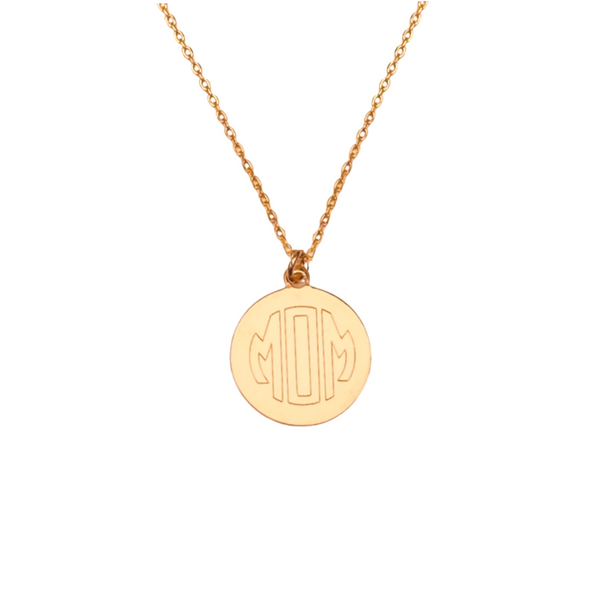 MOM MONOGRAM PENDANT NECKLACE