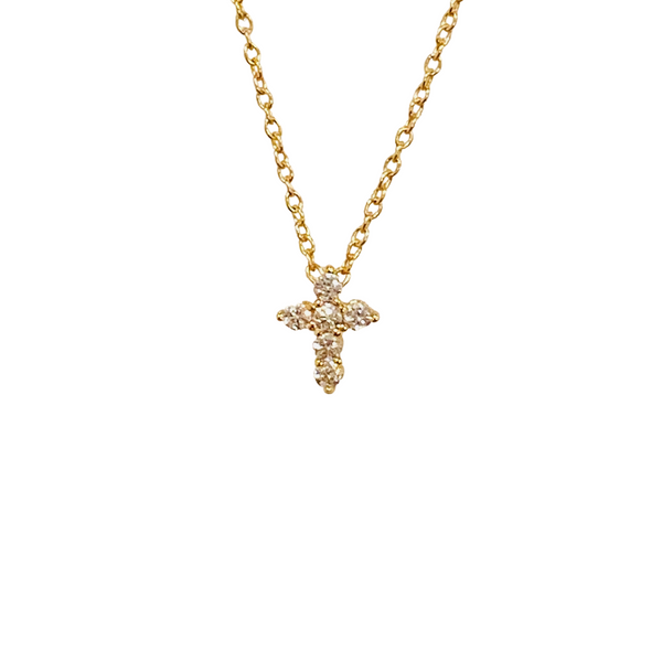 PETITE PAVE CROSS NECKLACE