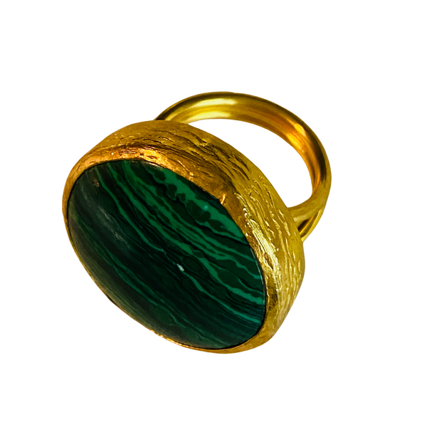 ROUND MALACHITE GREEN COCKTAIL RING