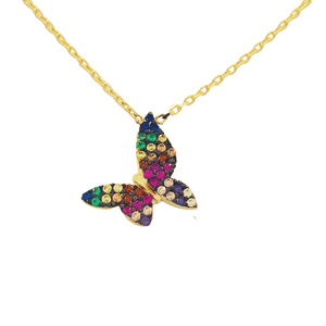 RAINBOW PAVE BUTTERFLY NECKLACE