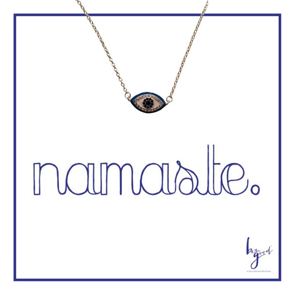 Enamel and crystal Blue Third Eye Necklace in Silver.