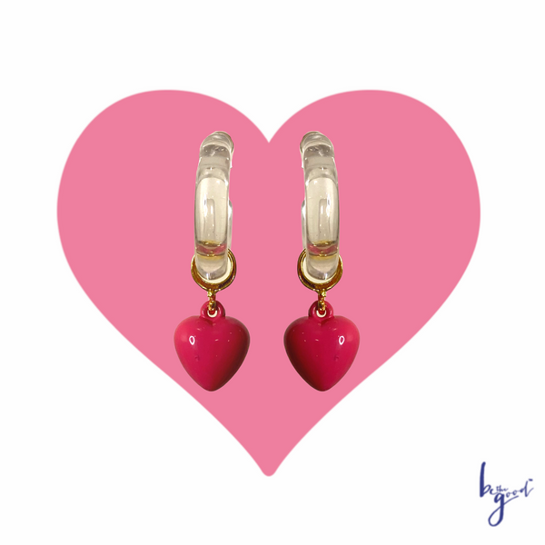 LUCITE PINK HEART HOOPS