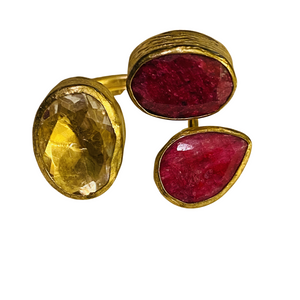 TRIO RUBY QUARTZ AND CITRINE RING