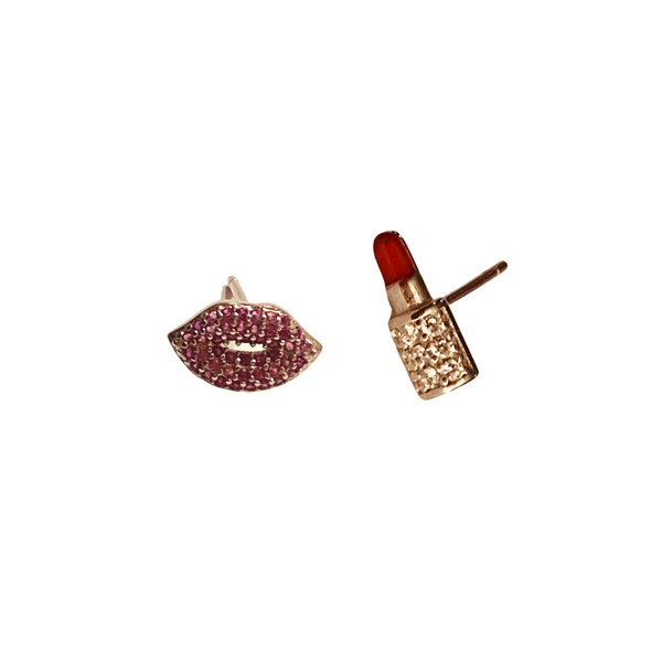 LIP KISSER PAVE STUD EARRINGS