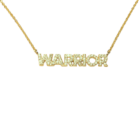 WARRIOR PAVE NAMEPLATE NECKLACE