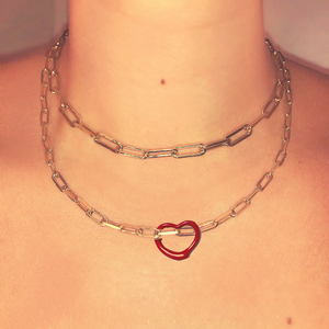 RED HEART ENAMEL MIDI LINK NECKLACE