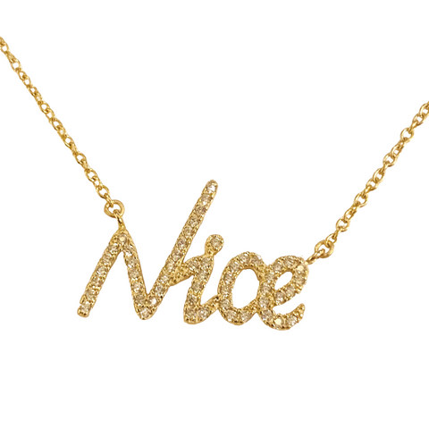 BE NICE PAVE NAMEPLATE NECKLACE