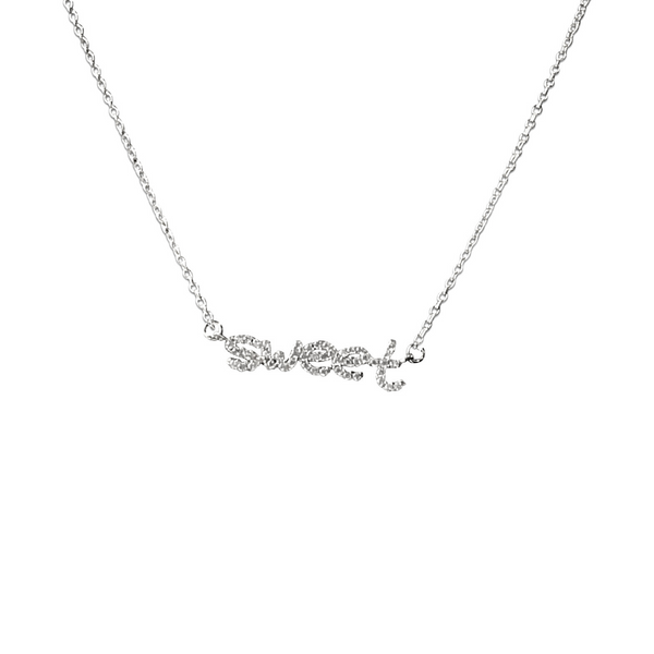 SWEET PAVE NAMEPLATE NECKLACE