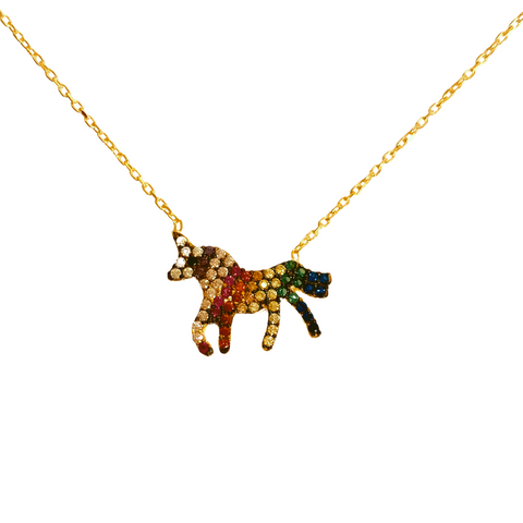 RAINBOW PAVE UNICORN NECKLACE