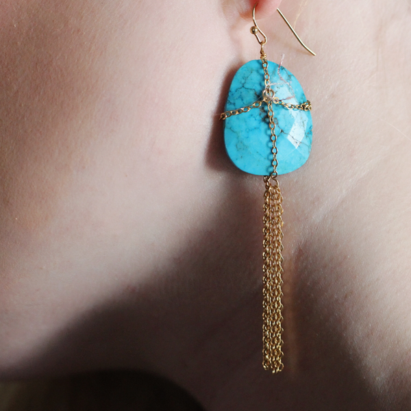 TURQUOISE CAGE DANGLES