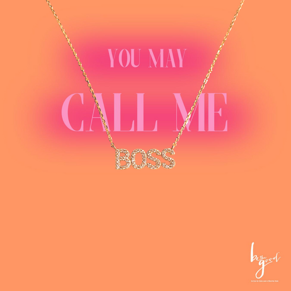 BOSS PAVE NAMEPLATE NECKLACE