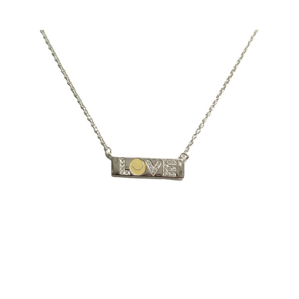 LOVE PAVE AND ENAMEL BAR NECKLACE