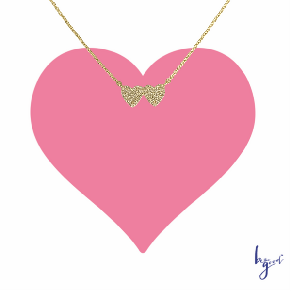 DOUBLE HEART PAVE NECKLACE