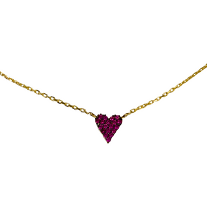 Pave Red Crystal Heart Necklace