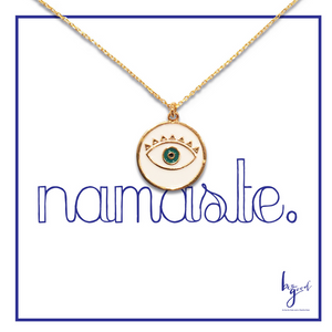WHITE EYE ENAMEL NECKLACE