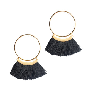 BLACK TASSLE HOOPS