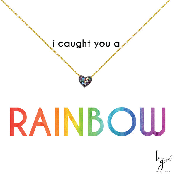 RAINBOW PAVE HEART NECKLACE