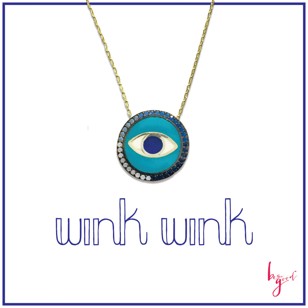 PAVE CRYSTAL ENAMEL THIRD EYE PENDANT NECKLACE