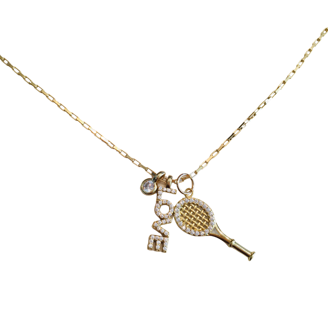 LOVE TENNIS CHARMS NECKLACE