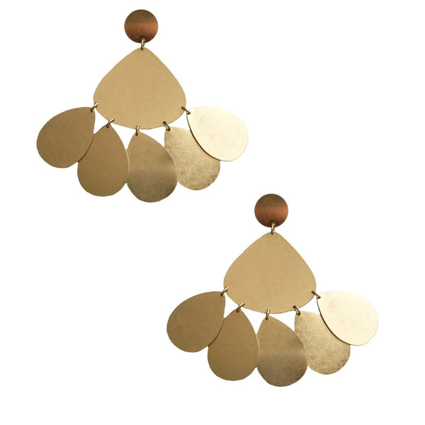 GOLD LILY PAD CHANDELIER EARRINGS