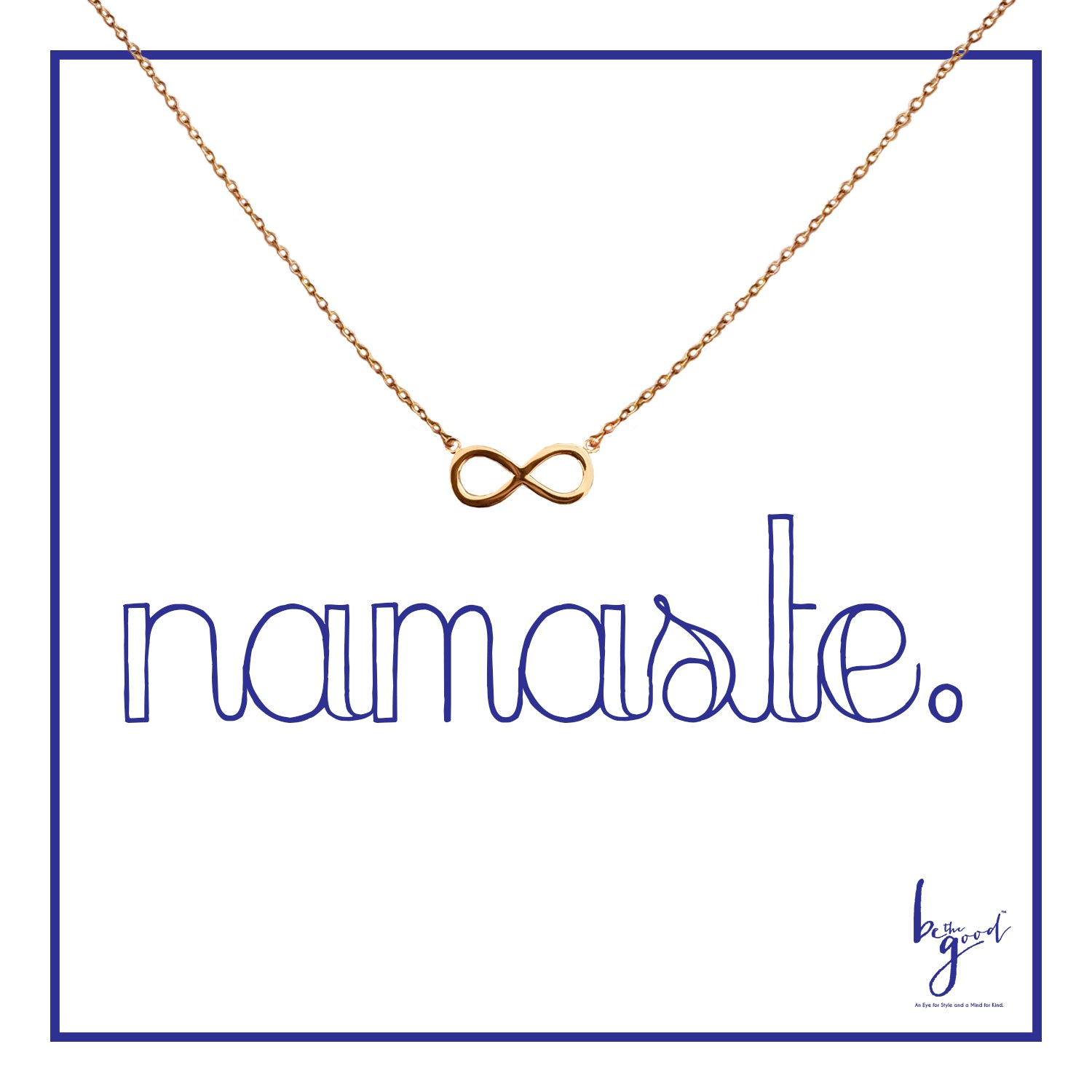 Gold infinity charm necklace on namaste card