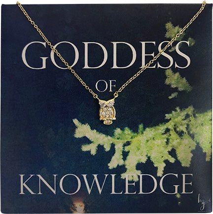 GODDESS OF KNOWLEDGE PAVE OWL NECKLACE