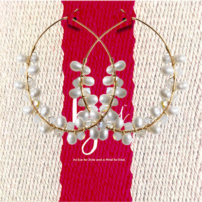 PEARL & MOONSTONE BEADED MEGA HOOPS
